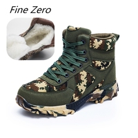 Fine Zero Natural Wool Men Winter Shoes Warmest Men Winter Snow Boots Quality Special Force Tactical Desert Combat Ankle Boats