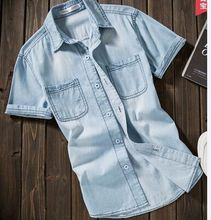 Camisas de mezclilla de Los Hombres Camisa Casual Denim Jeans Para Hombre Masculina de La Manera Delgada Camisa de Manga Camisas 3XL EE. UU. Estilo Euopean(China (Mainland))
