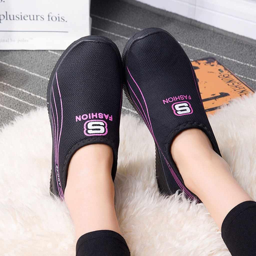 Sandalias de verano para mujer YOUYEDIAN ahuecadas de malla transpirable 2019 rayas Casual antideslizantes Zapatillas Mocasines zapatos suaves # g40