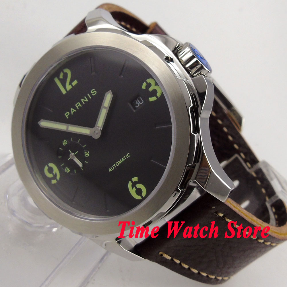 лучшая цена 44mm Parnis black dial date window luminous 5ATM sapphire glass ST2555 mens watch 779