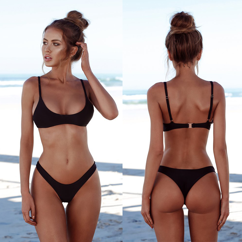 COSPOT <font><b>Bikinis</b></font> <font><b>2019</b></font> Woman Swimsuit Female Swimwear Thong <font><b>Bikini</b></font> Swimming Suit For Women Solid Bather <font><b>Bikini</b></font> Sexy image