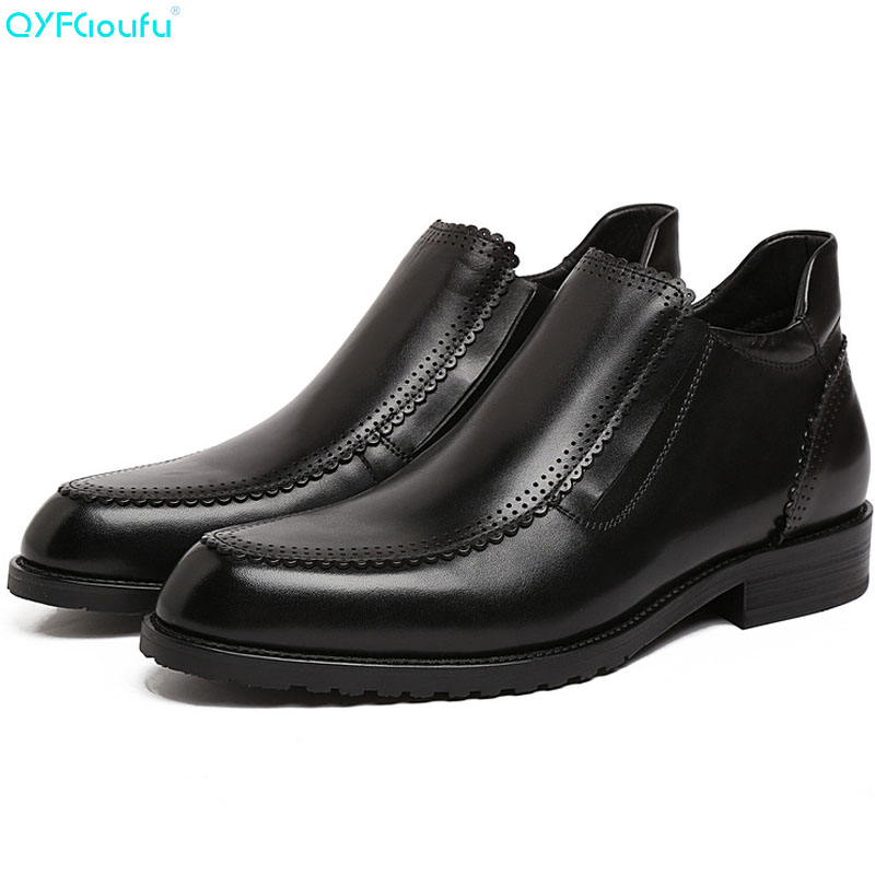 QYFCIOUFU 2019 Genuine Leather Black Wine Red Ankle Boots For Men Pointed Toe Chelsea Boots Luxury Brand Mens Dress Boots ShoesQYFCIOUFU 2019 Genuine Leather Black Wine Red Ankle Boots For Men Pointed Toe Chelsea Boots Luxury Brand Mens Dress Boots Shoes