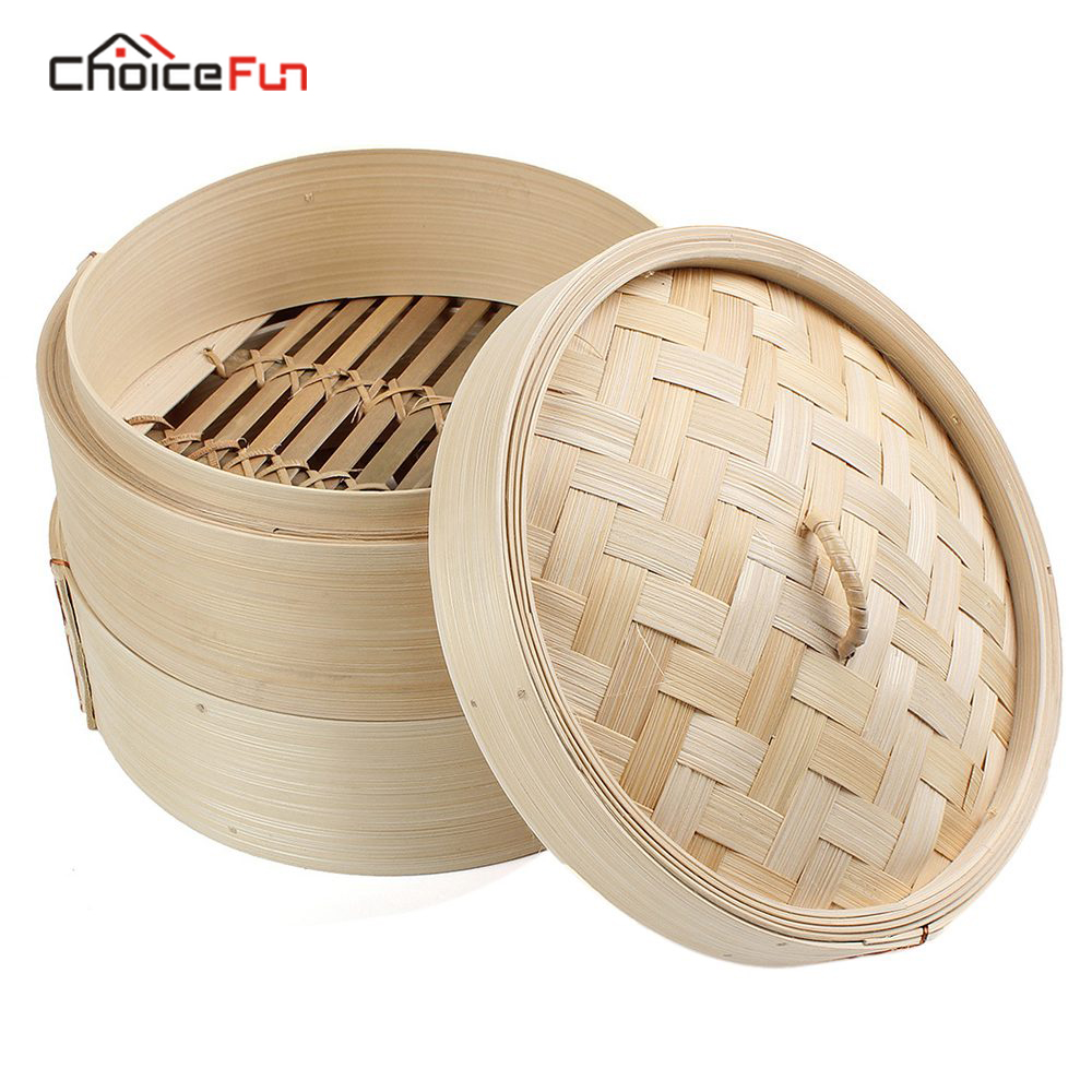 CHOICE FUN 2 Tier 8 Inch Bamboo Steamer Dim Sum Basket Rice Pasta Cooker Set With Lid