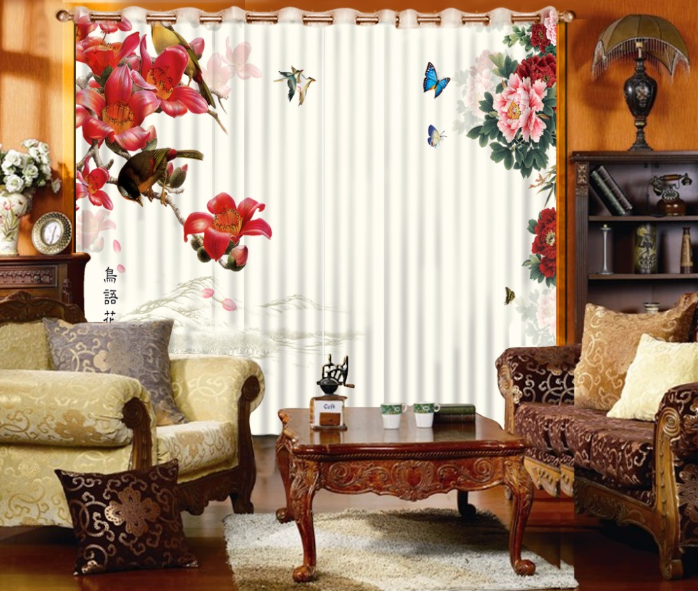 Classic Style Window Curtain Blackout Shade 3D Curtains ...