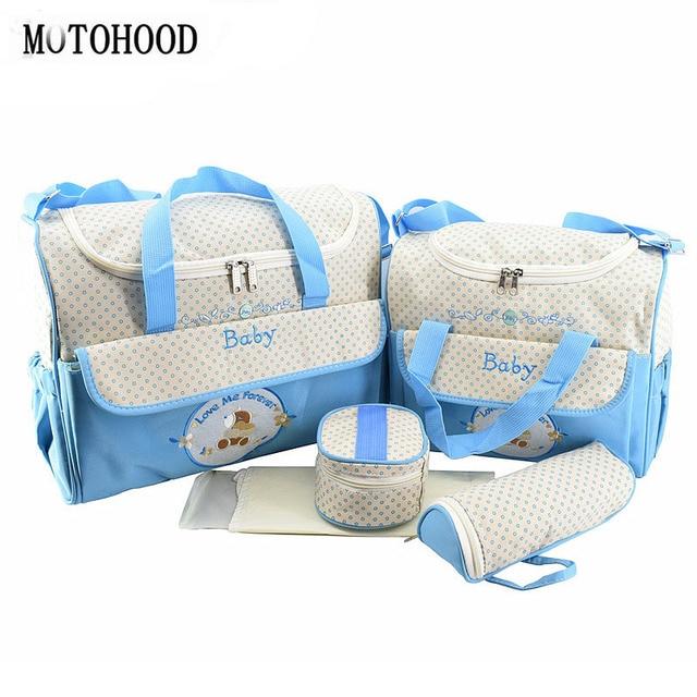 MOTOHOOD 5 adet bebek bebek bezi çantaları setleri anne analık çanta yüksek kapasiteli çok fonksiyonlu seyahat Nappy çanta düzenleyici fermuar