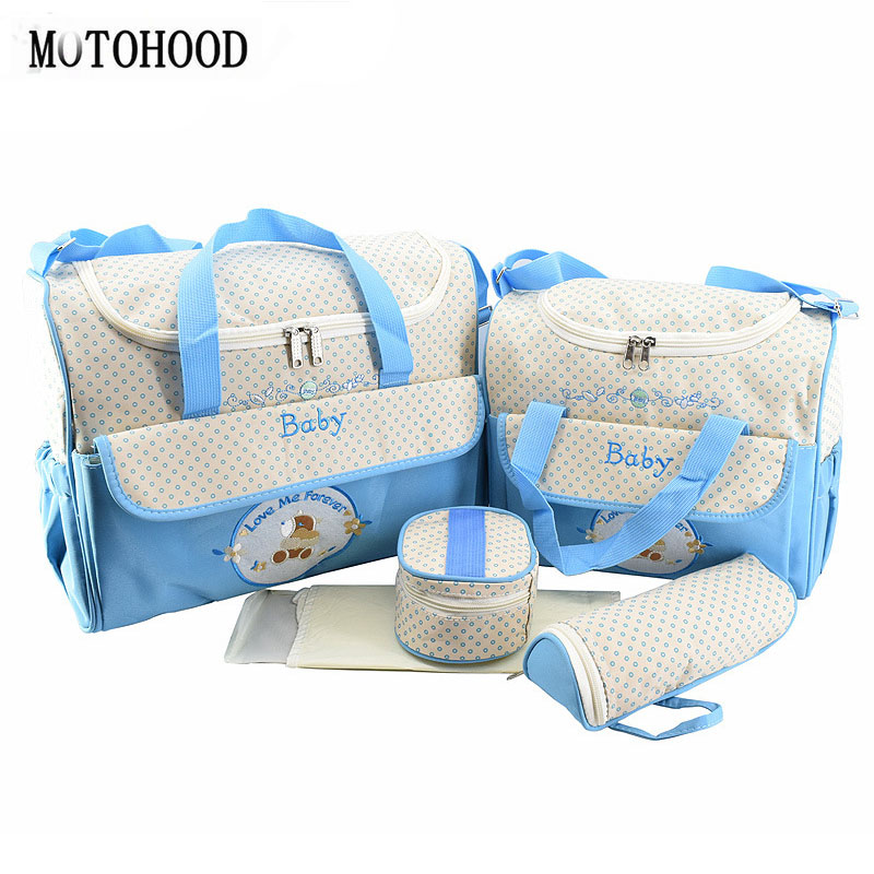 MOTOHOOD 5pcs Baby Diaper Bags Sets For Mom Maternity Bags High Capacity Multifunction Travel Nappy Bag Organizer Zipper