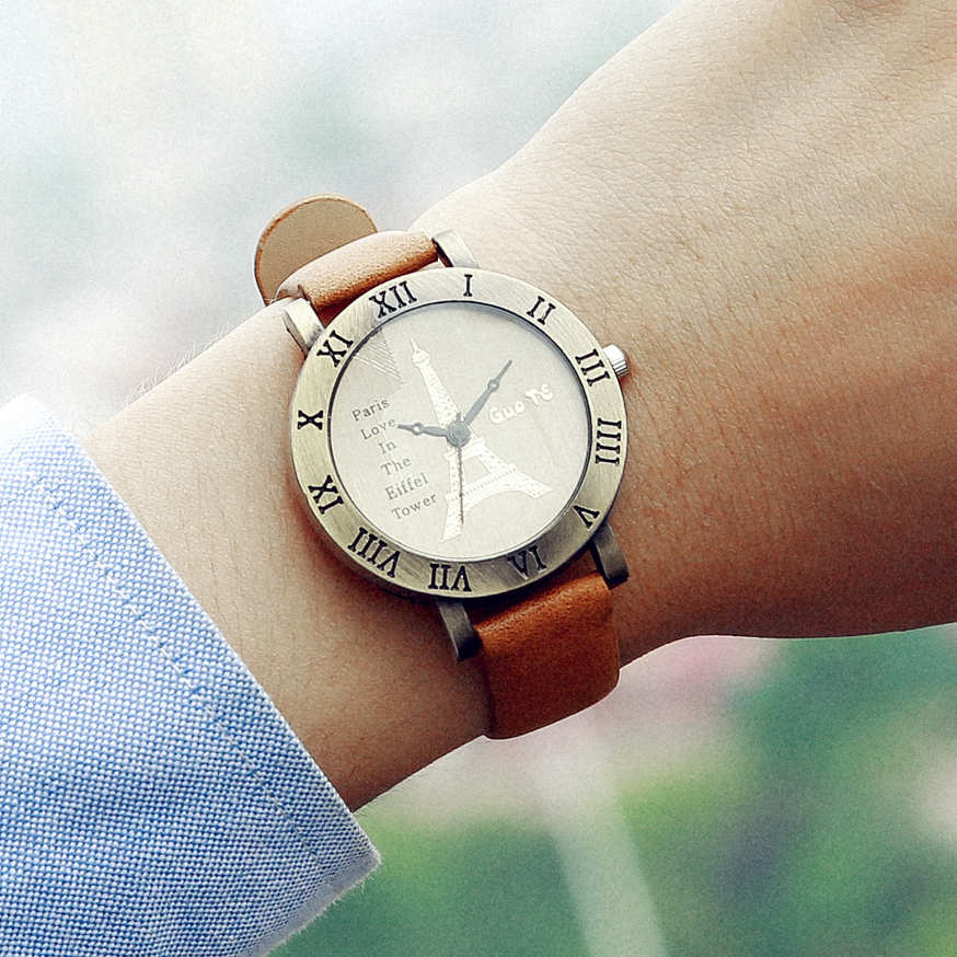 GUOTE New Fashion Watch Women Vintage Leather Eiffel Tower Dial Casual Quartz Watch Students Retro Style Clock Relogio Feminino miler vintage fashion watch women retro leather strap world map casual quartz wristwatch ladies creative clock relogio feminino