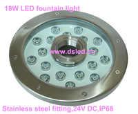 נירוסטה, IP68, D250mm 18 W LED מזרקת אור, LED בריכת אור, DS 10 52 18W, 18*1 W, 24 V DC, באיכות טובה, 2 שנה אחריות