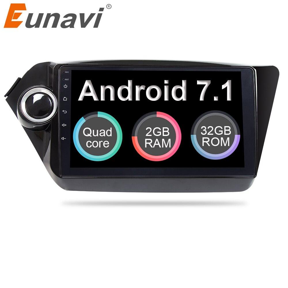 Eunavi android voiture lecteur dvd gps navigation pour Kia k2 RIO 2010 2011 2012 2013 2014 2015 2017 voiture radio stéréo dvd gps 2din
