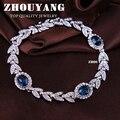 ZHOUYANG ZYH047 Rama de Olivo Azul de Calidad Superior de Cristal Cristales Austríacos de Oro Blanco Pulsera de la Joyería Al Por Mayor