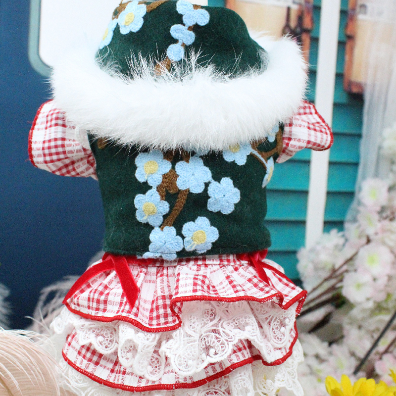 OnnPnnQ Winter Pet Dog Clothes Rabbit Fur Collar Embroidered Wool Jacket Dog Coat Thicken Warm Chihuahua Small Medium Dog Outfit