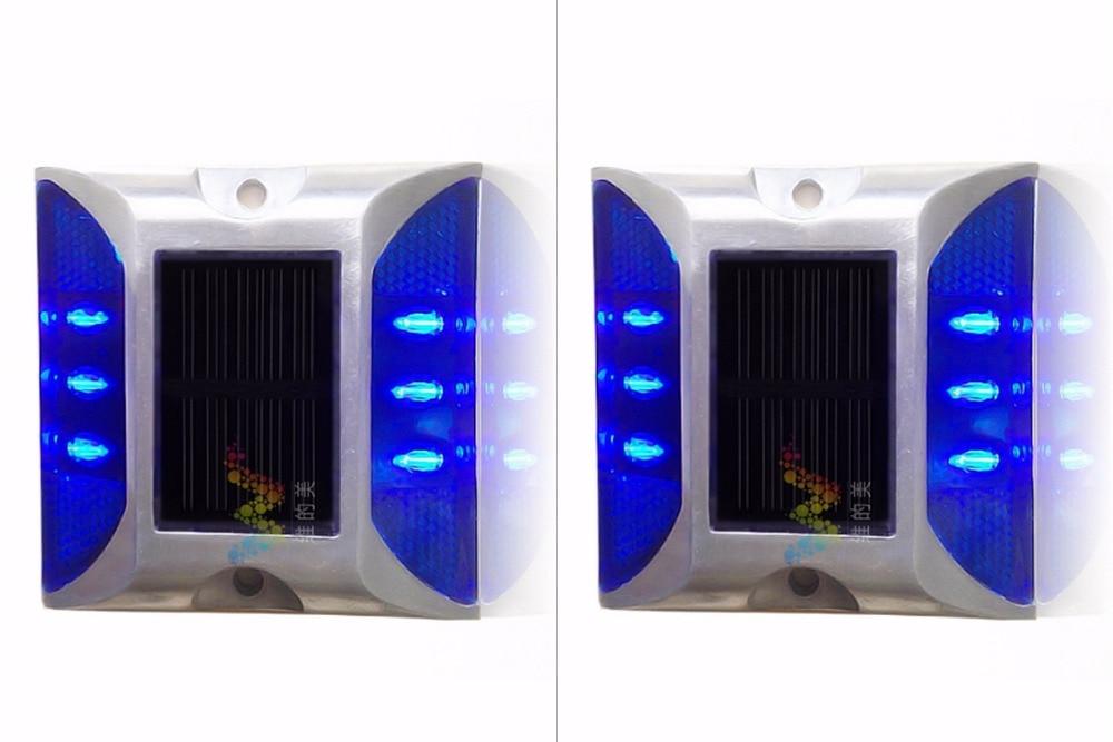 2X Solar Powered LED Road Stud Blue Road Flashing Light one Pack
