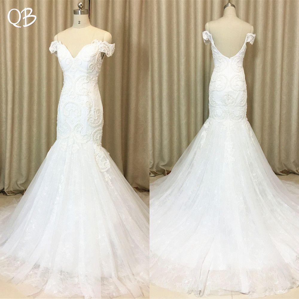 Custom Made 100% Real Photo Mermaid Cap Sleeve Backless Lace Pearls Appliqus Sexy Wedding Dresses 2019 New Wedding Gowns  XL21