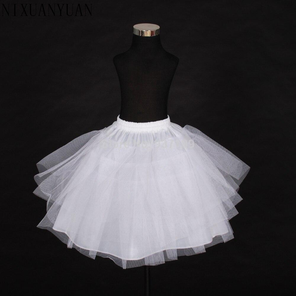 2018 envío gratuito Stock de alta calidad Red de tres capas blanco línea a flor chica vestido enagua/niño Crinolines/Ropa interior