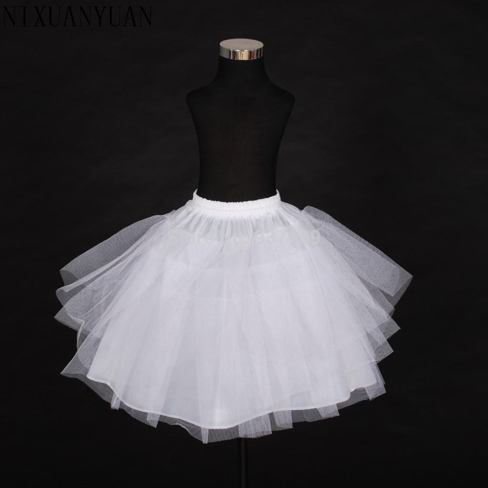 2019 Free Shipping Top Quality Stock Three Layer Net White A-Line Flower Girl Dress Petticoat / Child Crinolines/Underskirt