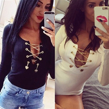 Women Metal Chain Sexy Bandage Deep V-Neck Long Sleeve Leotard Pants Fashion Top