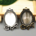10 sets/lot  two color filigree cameo cabochon 18*25mm base setting pendant + clear glass cabochons Wholesale 2016(A1008)
