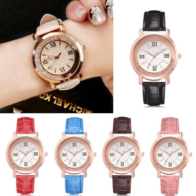 Leather Stainless Steel Quartz Watch Women Fashion Luxury Leisure Set Auger Gene