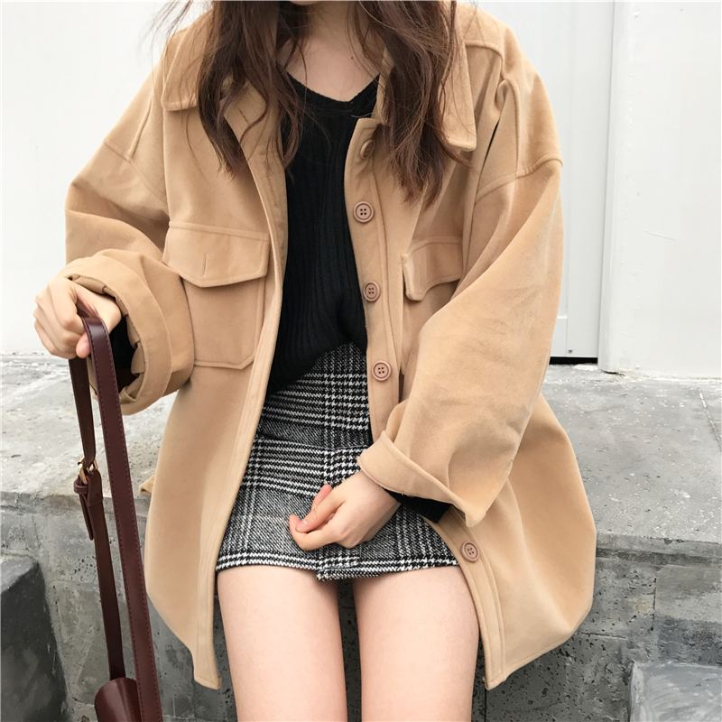 Women Autumn Winter Woolen Shirt Coats Jacket Single Breasted Loose Plus Size Khaki Brief Overcoat Manteau Femme Hiver Quell Summer Thirst