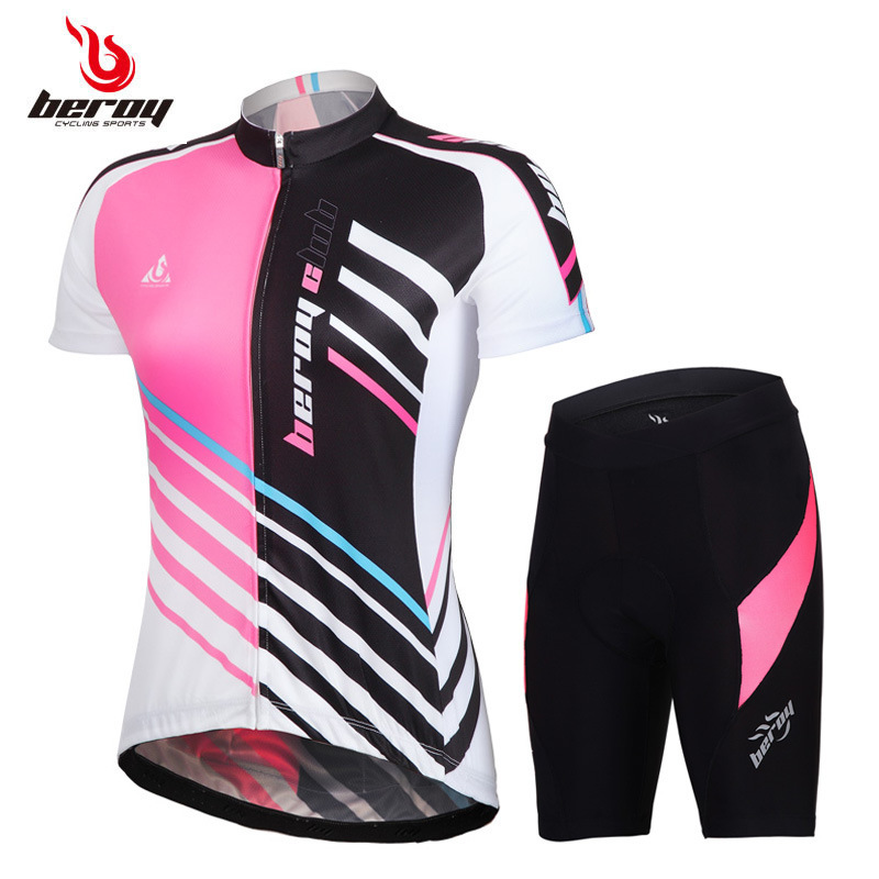 New Womens short sleeve Cycling sets biking suits quick dry Bike Bicycle jerseys shirts+ladies cycling pants shorts