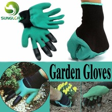 1 Pair Garden Gloves Rubber Polyester Builders Garden Work Household Safety Work Gloves Gardening Latex Dig
