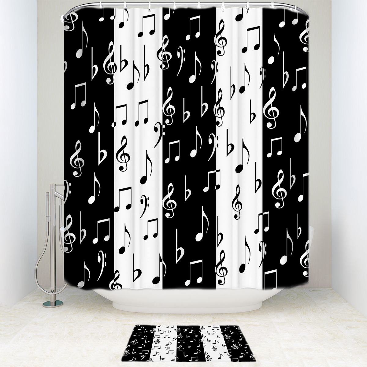 Us 12 79 46 Off Fashionable Music Musical Notes Pattern Black White Waterproof Shower Curtain Set Polyester Fabric Bathroom Curtains Mats In