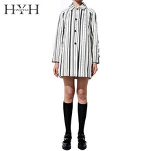 HYH HAOYIHUI Pinstripe Long Trench Coat Woman 2018 Autumn Simple College Style Streetwear Classic Sleeve Shirt