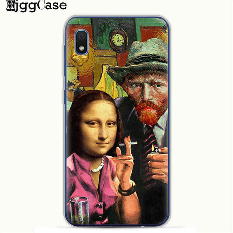 Mona Lisa funny Spoof Art Cases For Samsung A10 A20 A30 A50 A70 A6 A8 A7 A9 S10 S10e Plus 2018 Van gogh Starry TPU Phone Cover