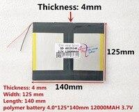 Melhor marca da bateria 40125140 3.7 v 12000 mAh Com plugue Para PC  Tablet PC Da Bateria  qualidade perfeita de lar