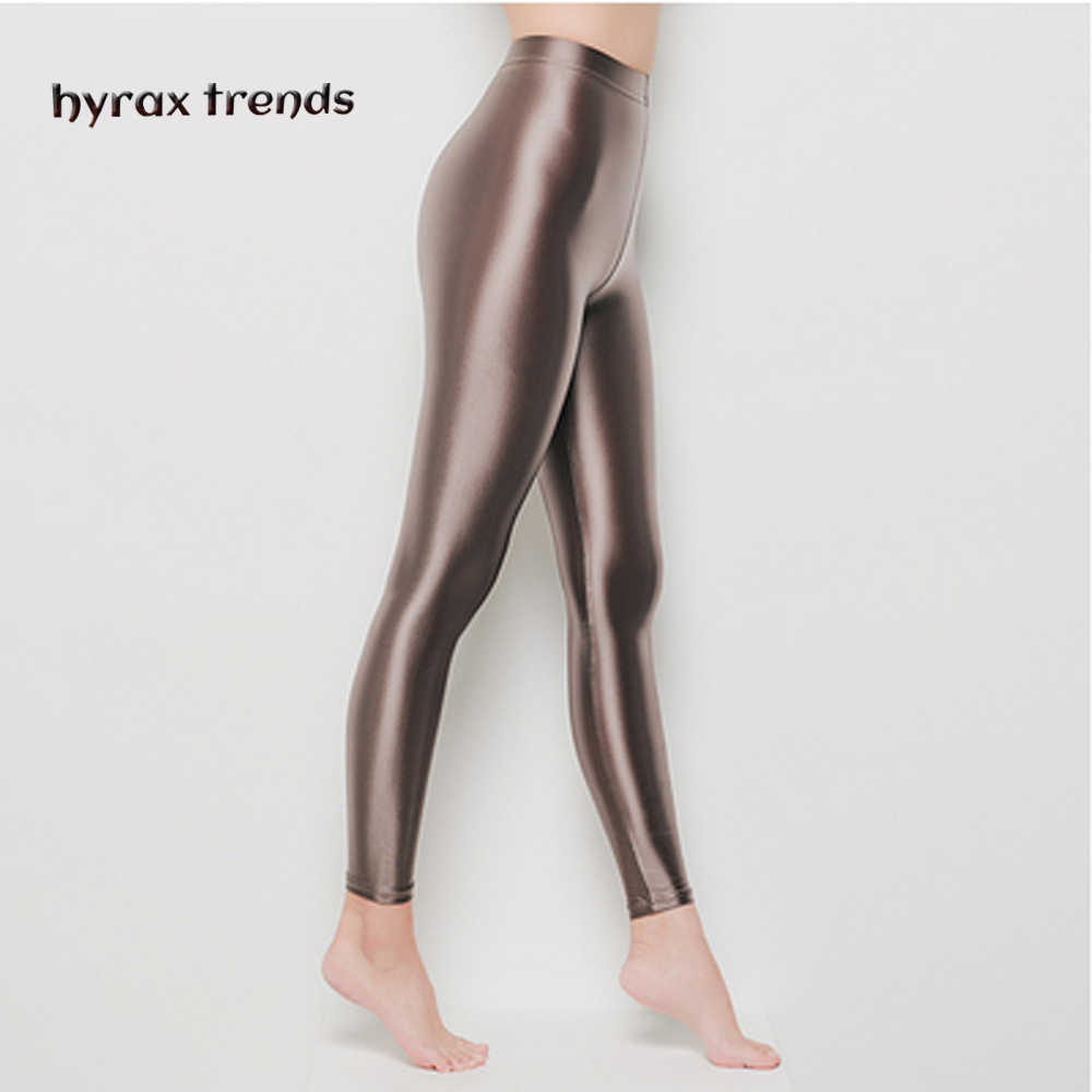 DROZENO Ladies sport shiny pants Nine-point yoga protective pants Sexy Satin Glossy Body LEOHEX Nylon Glitter Sexy Stockings