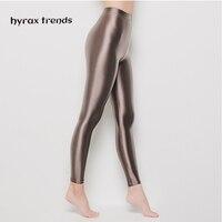 DROZENO Ladies sport shiny pants Nine point yoga protective pants Sexy Satin Glossy Body LEOHEX Nylon Glitter Sexy Stockings