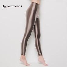 DROZENO Ladies sport shiny pants Nine-point yoga protective Sexy Satin Glossy Body LEOHEX Nylon Glitter Stockings