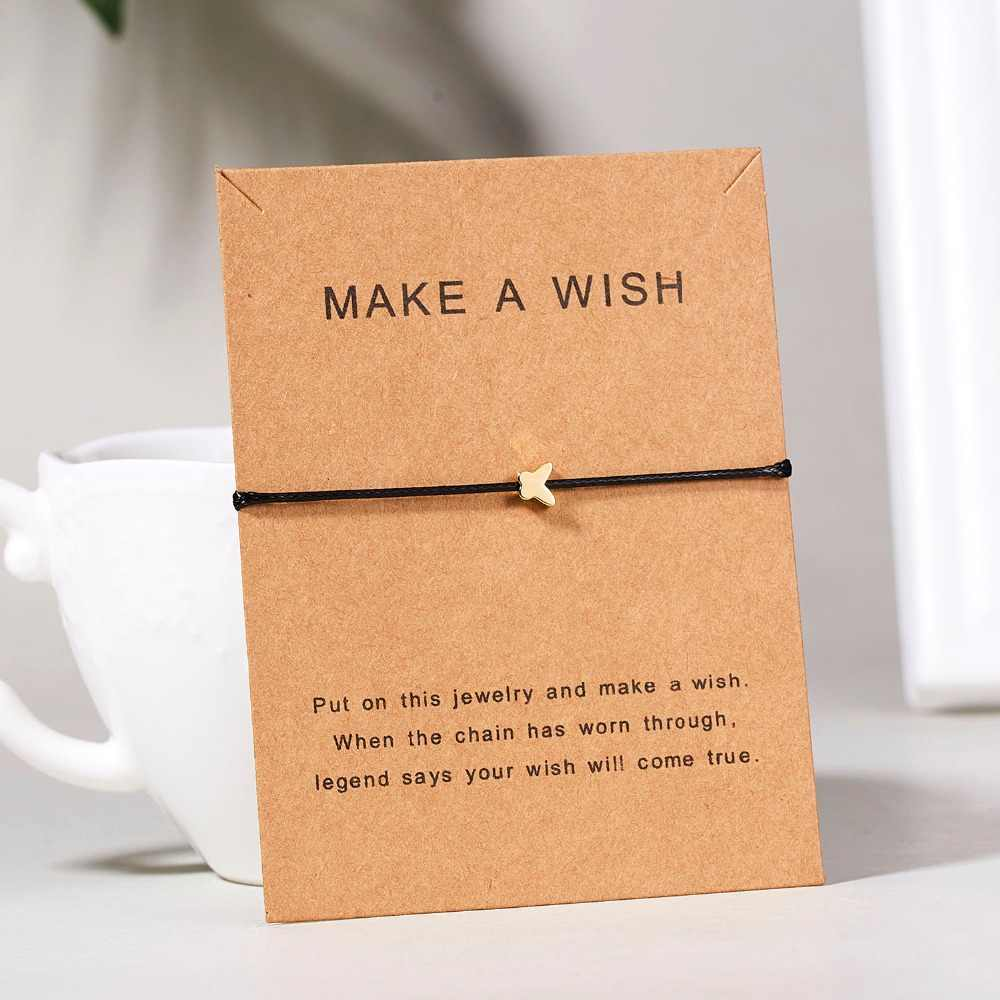 Rinhoo 10*7.5cm Make a wish paper card love woven adjustable rope chain copper bracelet accessories gift for friend