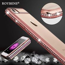 Roybens Luxury Bling Diamond Case For iPhone 7 8 Plus Transparent Soft TPU RoseGold Cover For iPhone 6 6S Slim Clear For iPhone8