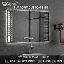 Изготовленный на заказ светодиодный bluetooth ванная комната настенное зеркало умное зеркало с подсветкой Анти-туман Ванна зеркало макияж зеркало 2G8019