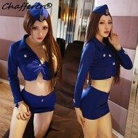Mulheres Nightclub Sexy Aeromoça Uniformes de Polícia Fêmea Pacote Apertado Hip Saia Set Estudante Role-playing Cosplay Traje Lingerie