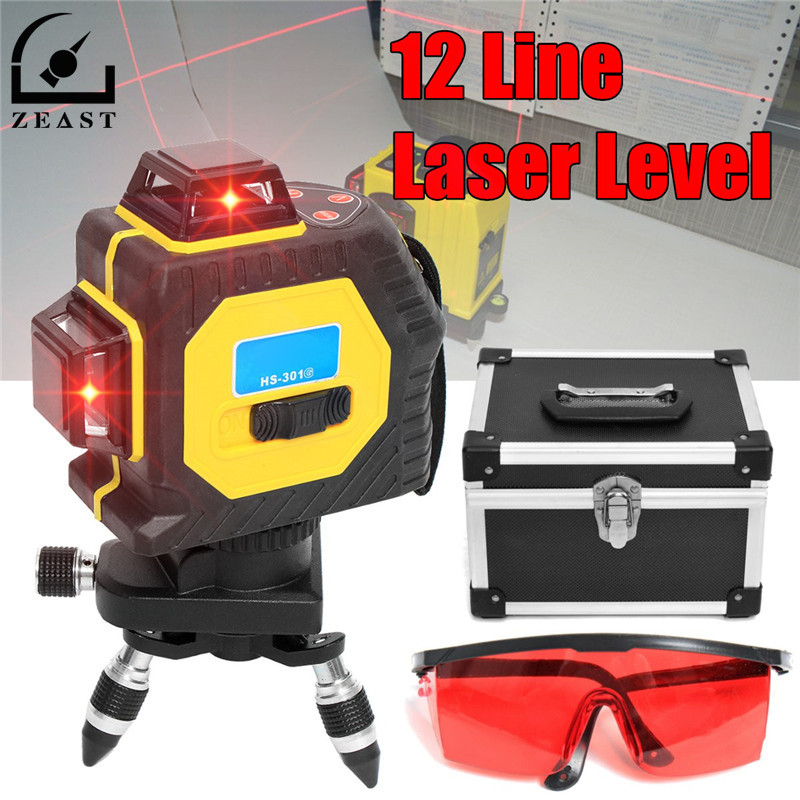 30X 360 Degree Outdoor 3D Laser Level 12 Lines Red Infrared Laser Projection Instrument Self Leveling Tripod Rotary Cross Kit xeast xe 17a new 3d red laser level 8 lines tilt mode self leveling meter 360 degree rotary cross red beam