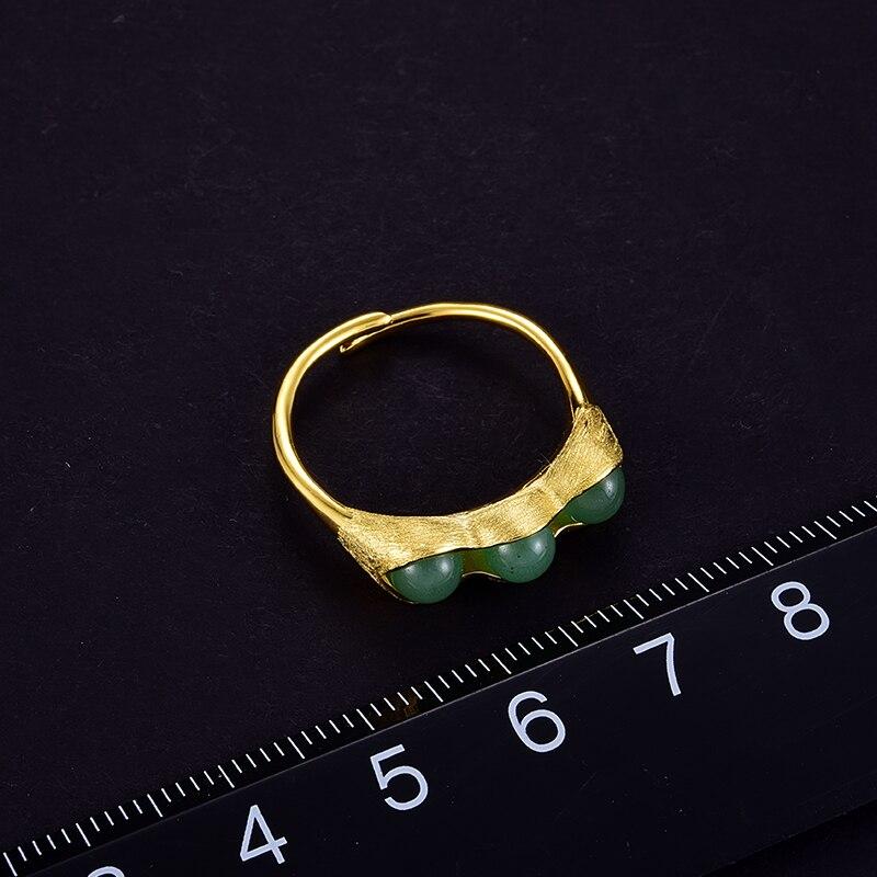 Lotus Fun réel 925 bijoux en argent Sterling pierres naturelles gousses de pois conception ensemble de bijoux avec anneau goutte boucle d'oreille collier - 5