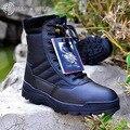 Alta Calidad 2016 Nuevas Botas Del Ejército Masculina Diseño de la Cremallera Botas Tácticas Delta SWAT Al Aire Libre Zapatos Para Hombres Negro Botas Militares