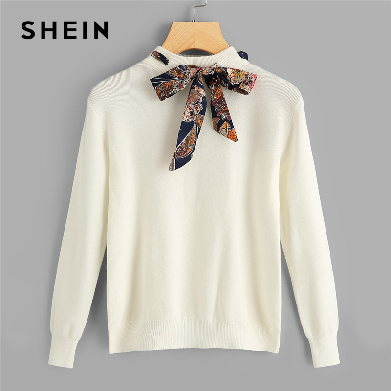 e98f81c04c SHEIN Preppy Knotted Decoration Tie Neck Stand Collar Solid Casual Women  Sweater New Autumn Campus Highstreet