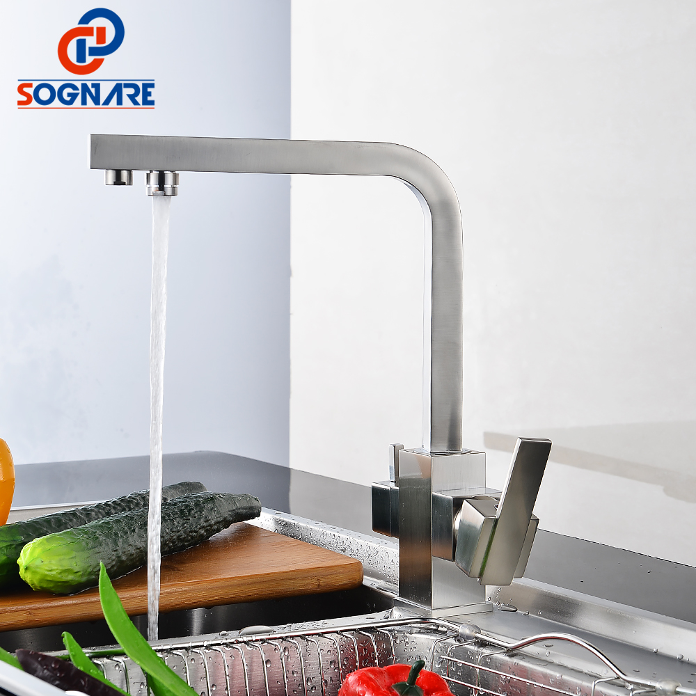SOGNARE Drinking Water Filter Faucet Nickel Brushed Square Water Purifier Faucet Kitchen Sink Tap Water Taps Solid Brass D2335 sognare 100% brass marble painting swivel drinking water faucet 3 way water filter purifier kitchen faucets for sinks taps d2111