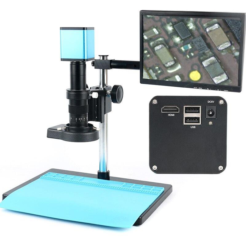Autofocus SONY IMX290 HDMI TF Vidéo Autofocus L'industrie Microscope Caméra Ensemble + 180X C-Monture + Stand + 144 led lumière annulaire + LCD