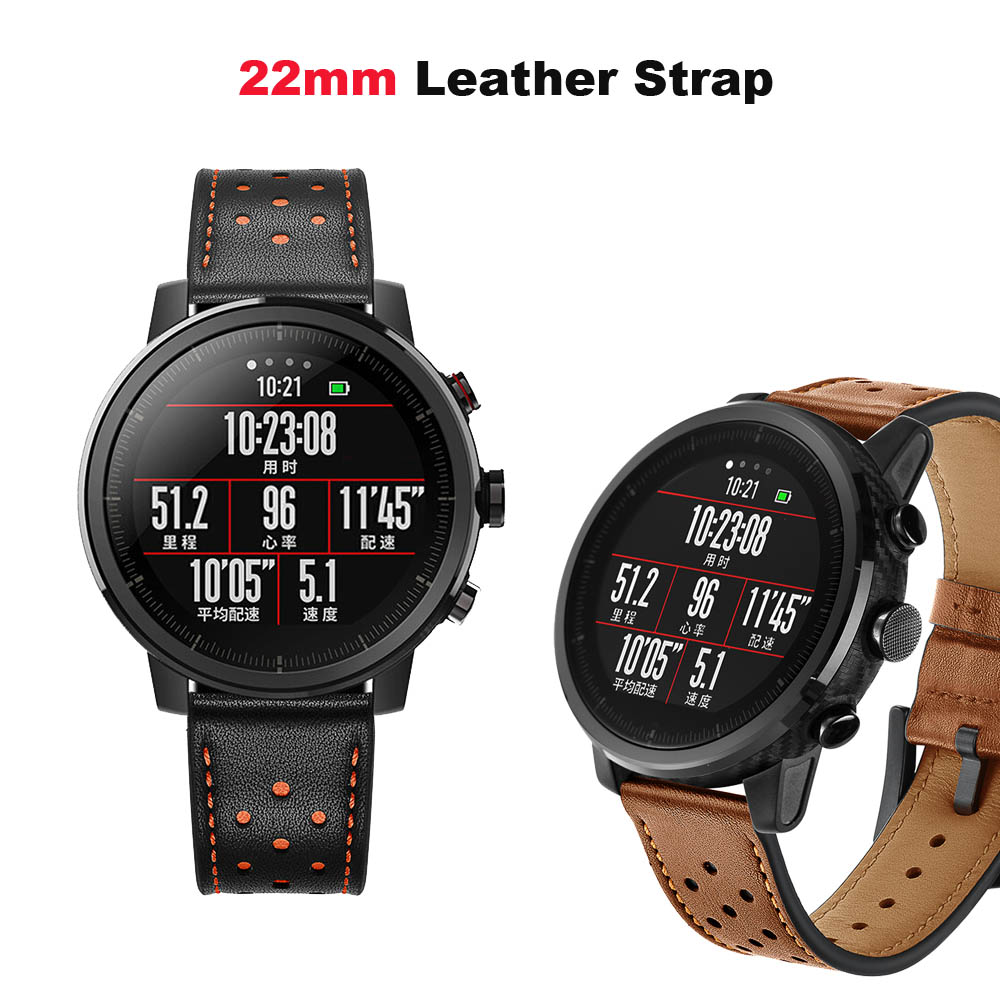 22mm Leather Bracelet Band For Huawei Watch GT Honor Magic Dream Correa For Xiaomi Amazfit Gtr 47mm Pace Stratos 2 Watch Strap in Smart Accessories from Consumer Electronics