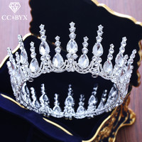 CC big tiaras and crowns baroque style round pageant engagement wedding hair accessories for bridal jewelry cz water drop XY249