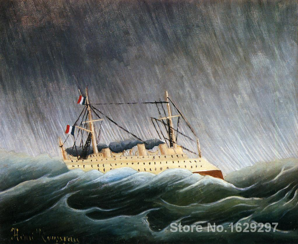modern colorful paintings Boat in a Storm by Henri Rousseau High Quality Hand paintedmodern colorful paintings Boat in a Storm by Henri Rousseau High Quality Hand painted