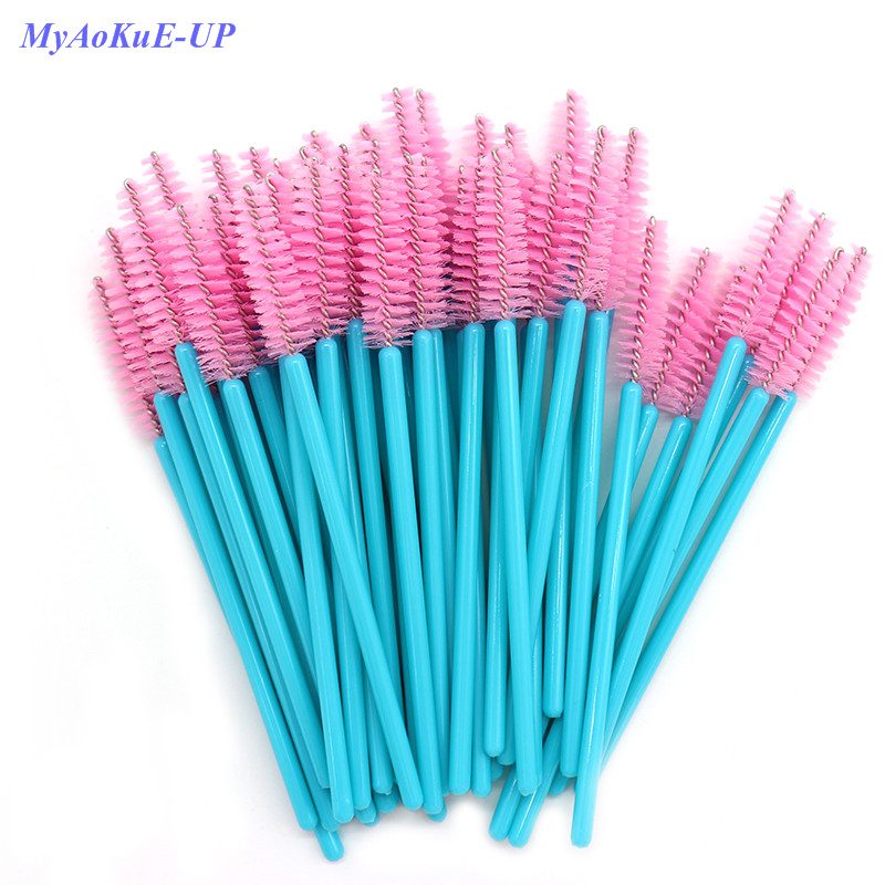 New Arrived 200pcs Blue Handle Pink Brushes Top Quality Nylon Disposable Mascara Wands Lashes Makeup Brushes Eyelash Extension
