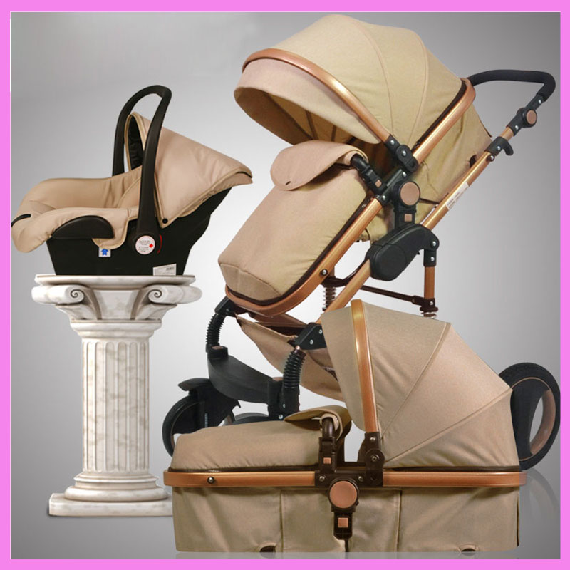 3 In 1 High View Luxury Infant Baby Stroller Four Wheel Folding Travel System with Car Seat Cradle Sleeping Basket Stroller Pram baby stroller with cute ceiling swivel wheel pushchair wide seat deluxe high view traveling trolly with snack tray