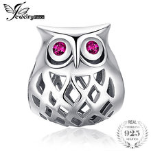 c8babd28c13f JewelryPalace 925 Sterling Silver Created rubí hueco búho Charm Beads Fit  pulseras Venta caliente regalo para