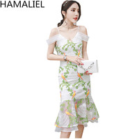 HAMALIEL Luxury Summer Women Party Mermaid Dress 2017 Designer Sexy Spaghetti Strap Embroidery Floral Off Shoulder