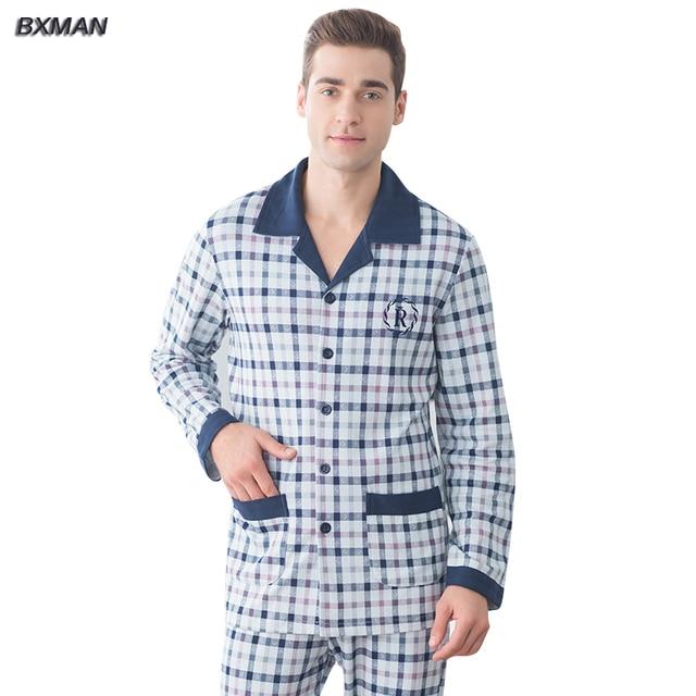 BXMAN Brand Men Pajamas Sets Spring Pajamas 95% Cotton Lattice Turn-down  Collar Full 4a747e9f9